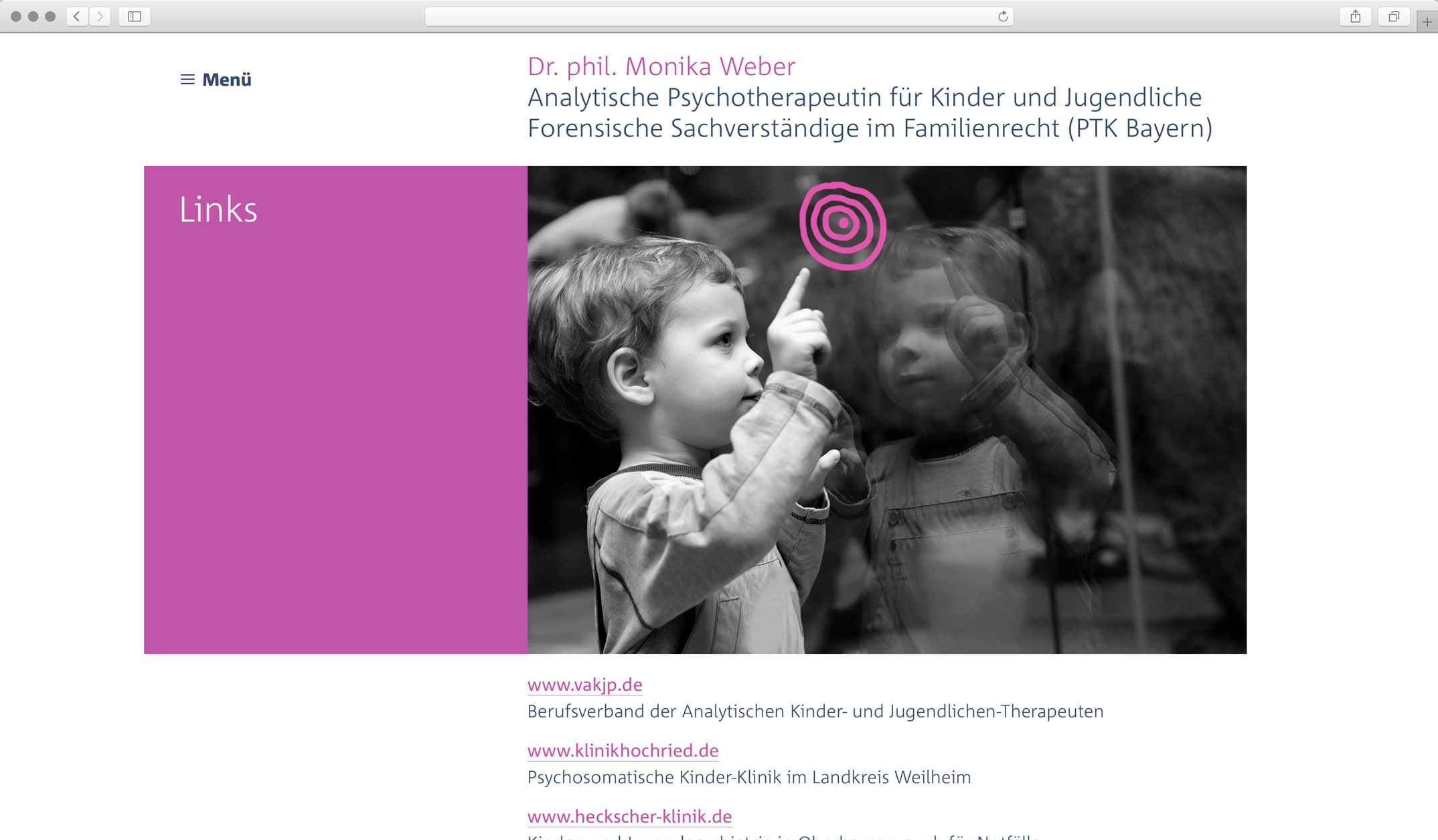 Corporate Website, Unterseite Links – Dr. phil. Monika Weber Analytische Kinder- und Jugendtherapeut, forensische Gutachten